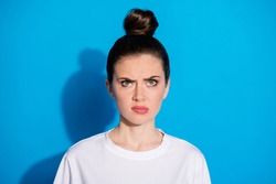 Close-up portrait of her she nice-looking attractive pretty gloomy grumpy sullen mad angry girl dislike new haircut salon coiffure isolated over bright vivid sine vibrant blue color background