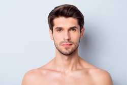 Close-up portrait of his he nice attractive bearded confident calm brown-haired guy clean clear perfect smooth soft silky flawless skin spa therapy isolated on light white grey color pastel background