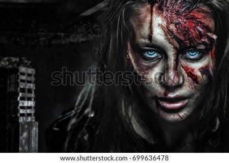 Close-up portrait of horrible zombie woman with wounds. Horror. Halloween poster.