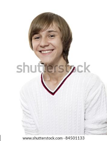 Close-up portrait of joyful smiling boy