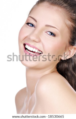 Close-up portrait of Laughing teenage girl  with the bright expressing positivity