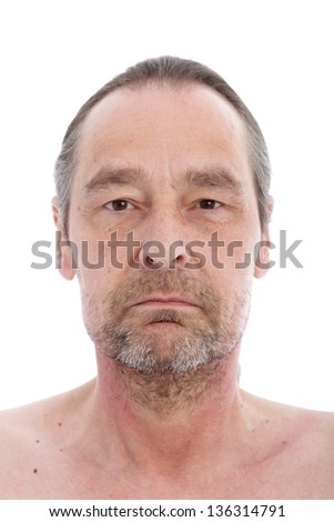 Close up portrait of middle aged man isolated on white