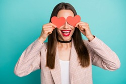 Close-up portrait of nice attractive lovely cheerful cheery straight-haired girl closing eyes with small little hearts isolated on bright vivid shine vibrant blue green turquoise color background