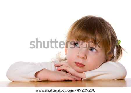 Close-up portrait of Pensive child isolated on white - stock photo