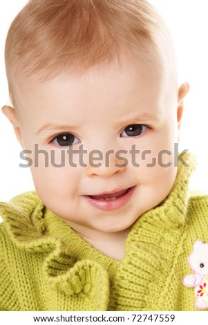 Close-up portrait of pretty happy smiling baby girl isolated on white background
