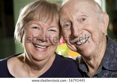 Close Up Portrait of Senior Couple - stock photo