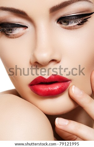 Lifestyle - Pagina 4 Stock-photo-close-up-portrait-of-sexy-caucasian-young-woman-model-with-glamour-red-lips-make-up-eye-arrow-79121995