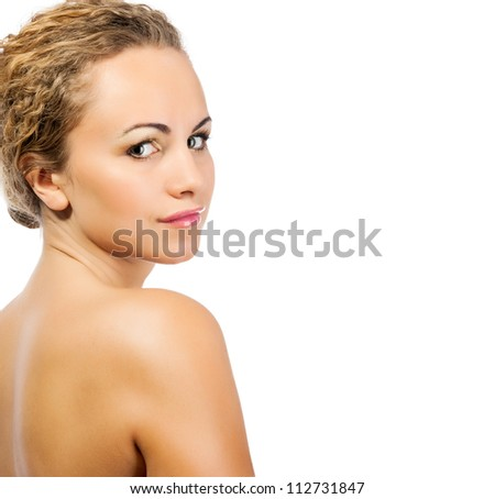 Close-up portrait of sexy caucasian young woman on a white background