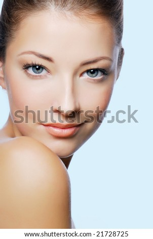 Close-up portrait of sexy caucasian young woman with beautiful blue eyes