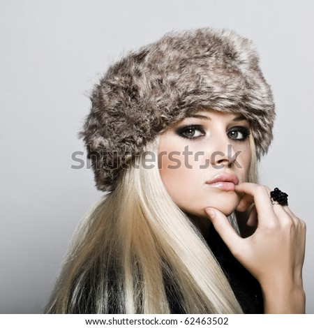 Close-up portrait of sexy caucasian young woman with beautiful Brown eyes - stock photo