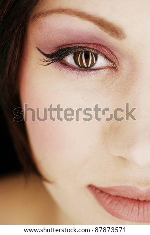 Close-up portrait of sexy caucasian young woman with beautiful  eyes