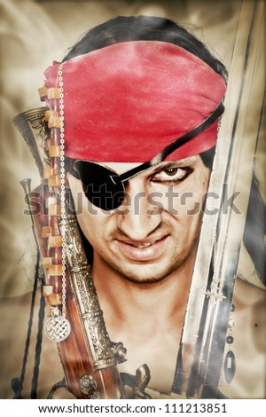 Close up portrait of sexy handsome male pirate - stock photo