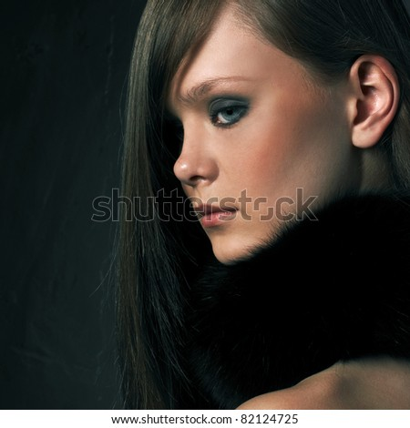 Close-up portrait of sexy young woman with beautiful eyes