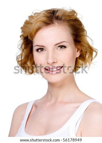 Close-up portrait of smiling young beautiful woman with blond short hair - isolated