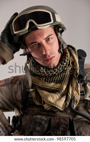 Close up portrait of soldier. - stock photo