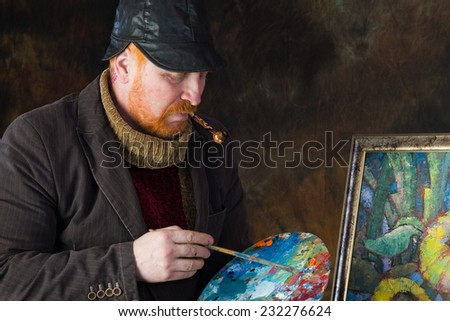 close-up portrait of the adult artist with red beard and mustache in the style of Vincent van Gogh studio on dark background