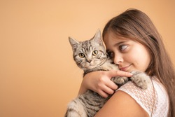 Close up portrait of the beautiful little girl with brunette loose hair the hugging her grey cat, isolated over orange background, studio photo