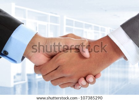 close up portrait of Two businessman's hand shake