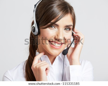 Close up portrait of Woman customer service worker, call center smiling operator with  phone headset