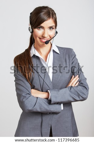 Close up portrait of Woman customer service worker, call center smiling operator with phone headset. Close up female model.