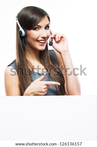 Close up portrait of Woman customer service worker with big blank board, call center smiling operator with phone headset