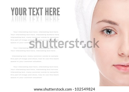 Close-up portrait of woman eye with perfect health skin of face. Isolated on white
