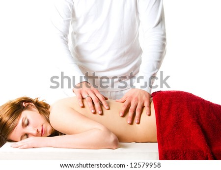 Close up portrait of woman, having a back massage