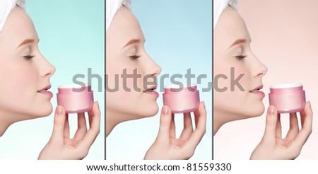 Close-up portrait of young adult woman with perfect health skin of face. Collage
