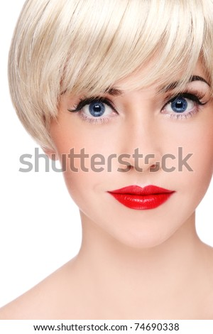 Close-up portrait of young beautiful blond girl with stylish make-up, on white background