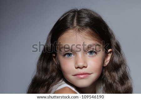 Peachy Close Up Portrait Of Young Beautiful Little Girl With Dark Hair Short Hairstyles For Black Women Fulllsitofus