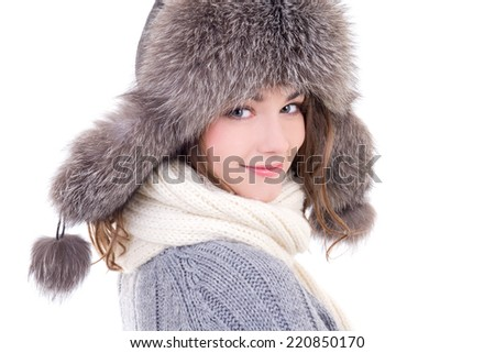 close up portrait of young beautiful woman in winter clothes isolated on white background #220850170