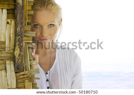 Close up  portrait of young gorgeous  blond female in summer environment