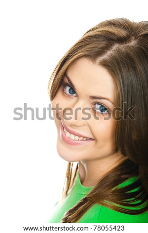 Close-up portrait of young happy woman , big natural smile, beautiful model posing in studio over white background . Isolated on white. Light make-up