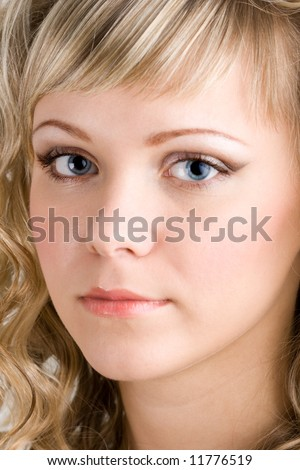 Close-up portrait of  young sexy blond woman