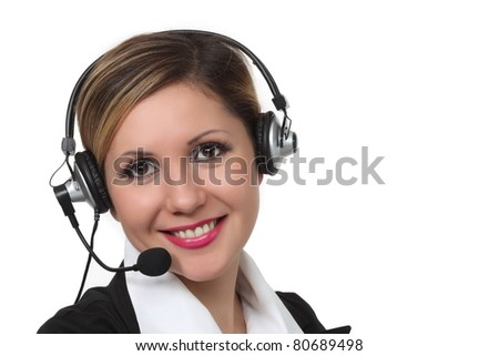 Close-up portrait of young smiling women with  headset on white background