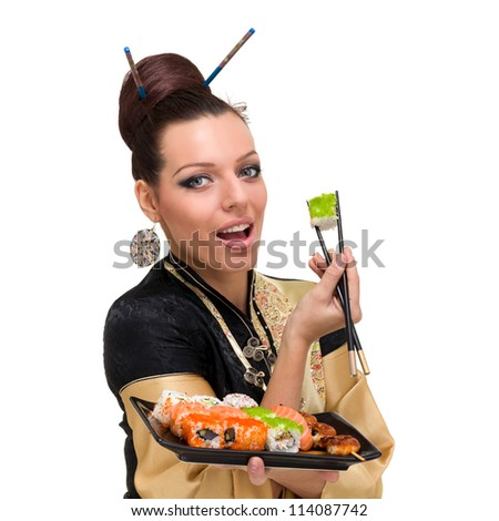 Close up portrait of young woman with sushi, isolated on white background.
