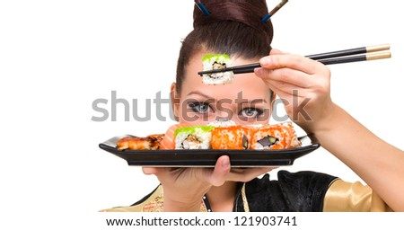 Close up portrait of young woman with sushi, isolated on white background with copyspace