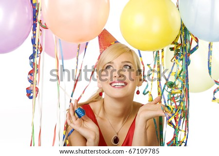 close up portrait pretty blond woman in red dress with balloons during a party over white smiling