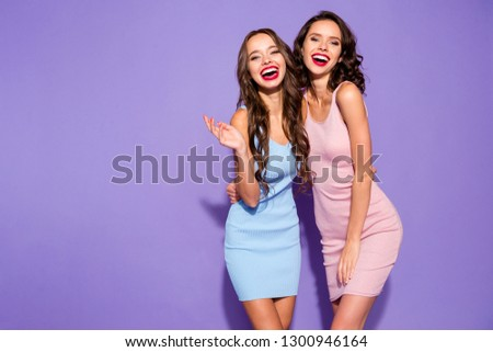 Close up portrait stunning beautiful she her lady sisters yelling bright pomade suits white teeth party style wear pretty cute festive short dresses isolated purple violet vivid vibrant background