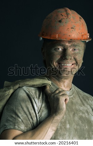 close-up portraitm worker man mine
