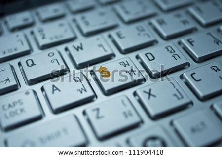Close up Position the keyboard Dollar sign, business concept