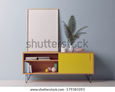 Close up poster on chest drawers, 3d illustration