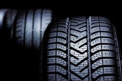Close up profile modern car tyres