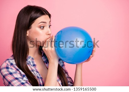 Close-up profile side view portrait of nice attractive cute charming lovely funny straight-haired lady wearing checked shirt blowing air ball isolated over pink background Сток-фото ©