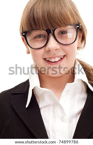 close up, punctate schoolgirl with glasses, over white background