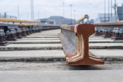 Close up rail spare part and rail Fastener for hold rail with concrete slab track of sky train