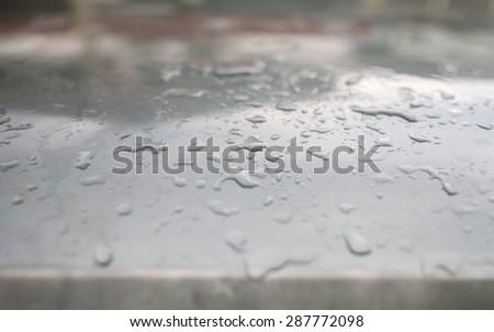 Close up rain drops on roof top car
