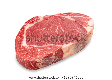 Close-up raw rib eye steak isolated on white background with clipping path. Stock photo ©