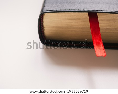 Close-up red bookmark with copy space. Book day concept Сток-фото ©