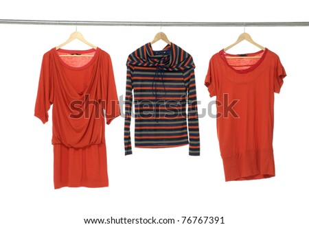 Close up red fashion clothing hanging